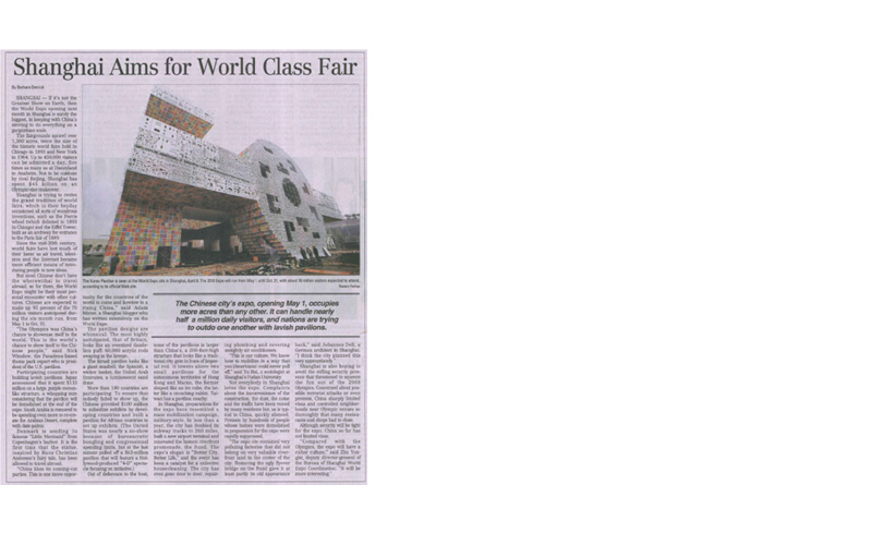 [2010. 04. 17 The Korea Time] KANG Ik-Joong _Shanghai Aims for World Class Fair