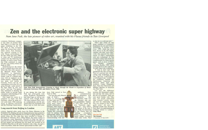 [2010 Art Newspaper (Dec, Issue 219)] Nam Jun Paik _ Zen and the electronic super highway